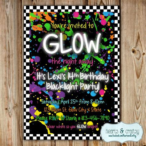 Glow In The Dark Party Invitation Neon By Heartsandcraftsy Neon Invitations Templates Free
