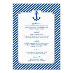 Nautical Themed Rehearsal Dinner - striped nautical wedding menu card template 4 5 quot x 6 25 quot invitation card zazzle