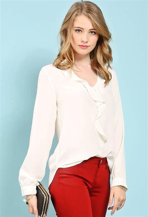 chiffon ruffle dressy top shop blouse shirts at papaya