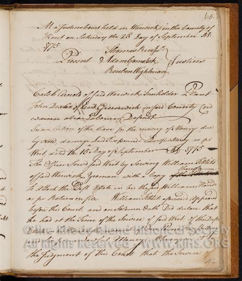 Court Records Ri Mss 227 B1 F1 Justice Court Records Warwick Ri 1773 1784 Pag Rhode Island