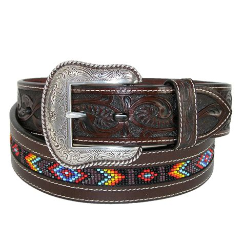 leather beaded belts mens tooled leather with beaded center western belt