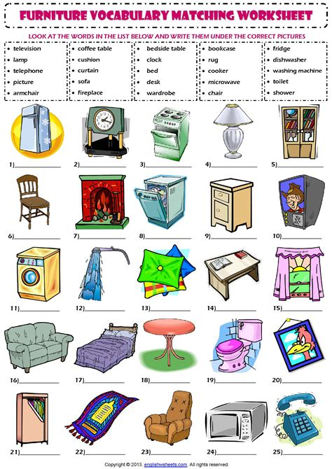 kitchen furniture list spanish and english worksheets abitlikethis