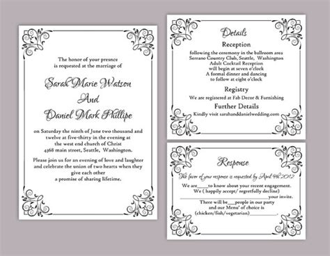 Wedding Invitations Templates Word by Diy Wedding Invitation Template Set Editable Word File