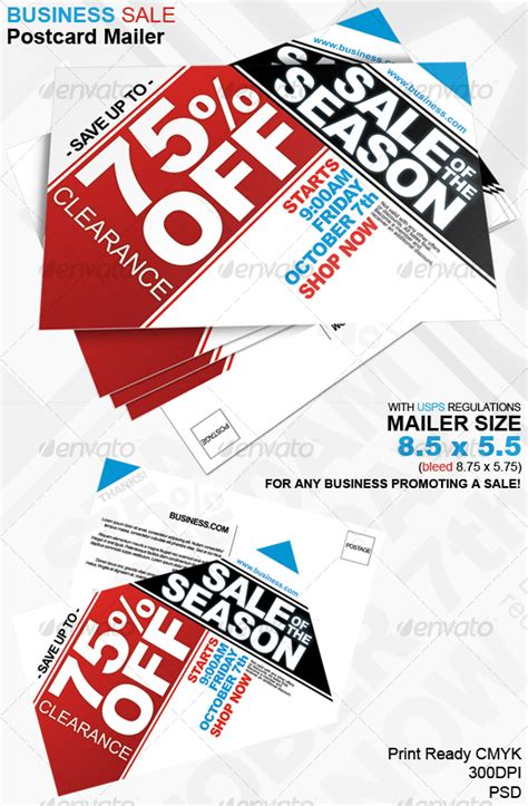 Business Sale Postcard Mailer 8 5 X 5 5 By Jmzolman Graphicriver Business For Sale Ad Template