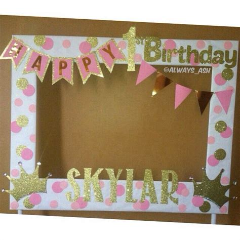 themed photo frames pink and gold 1st birthday photobooth frame