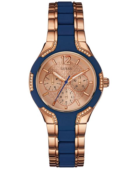 Guess Merica Rosegold Limited guess s blue silicone and gold tone steel bracelet 36mm u0556l5 in blue lyst