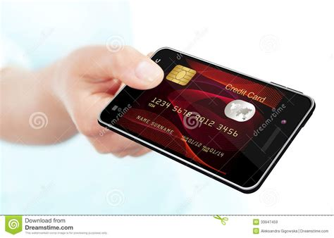 card mobile holding mobile phone with credit card screen royalty