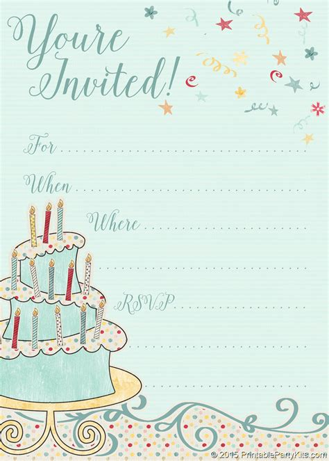 Free Printable Whimsical Birthday Party Invitation Template Party Printables Pinterest Birthday Invitations Templates