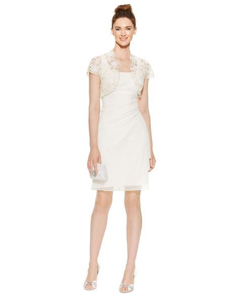 B2w2 Ivory Dress With Jacket Lyst Patra Sleeveless Chiffon Sheath Dress And Jacket In