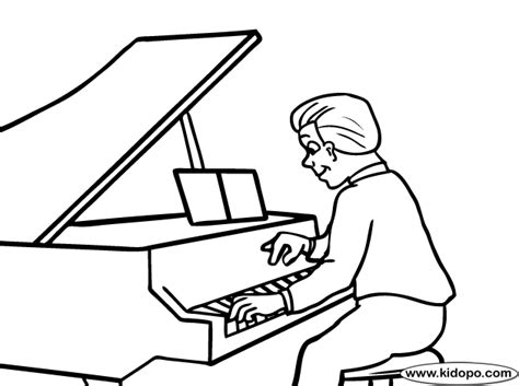 coloring page girl playing piano play piano coloring page