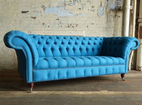 Blue Chesterfield Sofa Nuvo Cobalt Blue Wool 3 Seater Chesterfield Sofa Abode Sofas