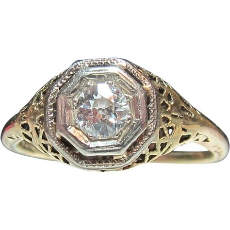 deco filigree engagement rings beautiful deco 14k filigree yellow gold engagement ring from historicshop on ruby