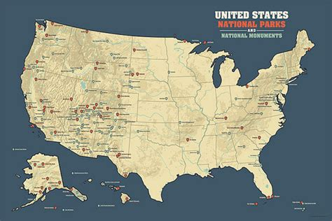 map us national parks monuments us national parks national monuments map poster