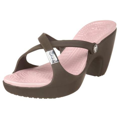high heeled crocs crocs s cyprus high heel sandal chocolate cotton
