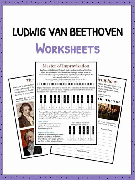 beethoven biography and worksheet ludwig van beethoven facts for kids kids matttroy