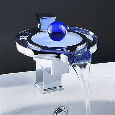 Led Light Faucet by Waterfall Faucet With Temperature Sensitive Led Lights