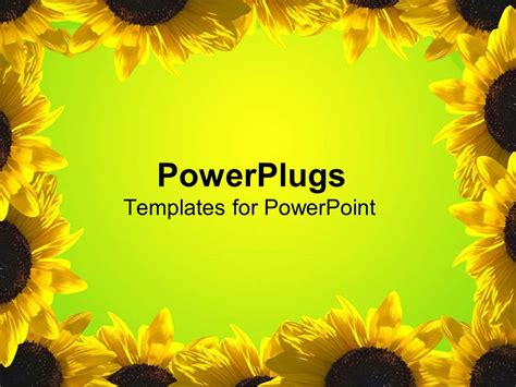 powerpoint template yellow sunflower frame around green