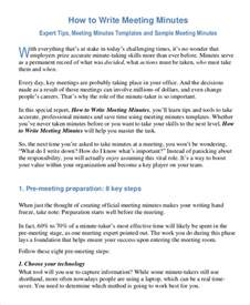 How To Write Meeting Minutes Template by Minutes Writing Template 10 Free Word Pdf Documents