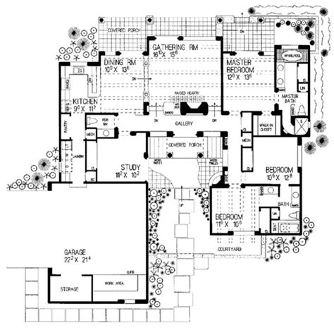 southwestern house plans adobe southwestern style house plan 3 beds 2 5 baths 1907 sq ft plan 72 119 floor plan