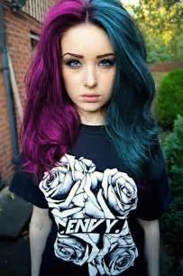half colored hair two tone purple and blue hair color