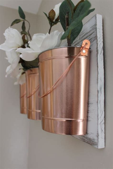 home project copper buckets for your wall within the