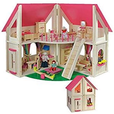 amazon doll house amazon com wooden doll s house with furniture toys games