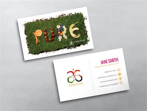 arbonne business card free template arbonne business card 17