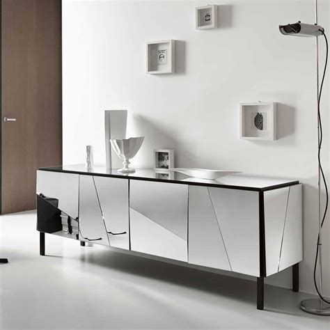 Dining Table Storage Base Psiche Mirrored Sideboard By Tonelli Klarity Glass