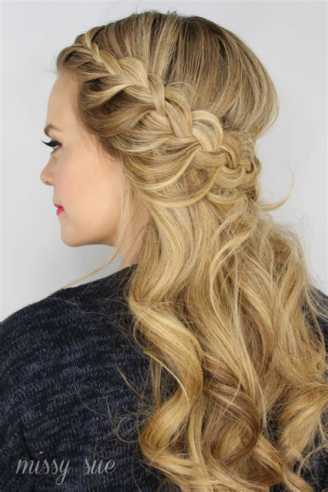 braided updo hairstyle party half up half down for wrapped braids archives missy sue