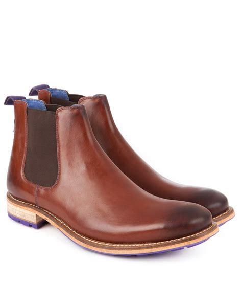 ted baker leather chelsea boot in brown for lyst