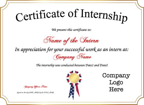 appreciation letter internship completion certificate of internship template