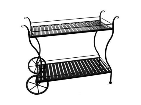 meadowcraft wrought iron slat serving cart 7762200 01