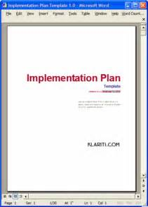 Implementation plan template ms word