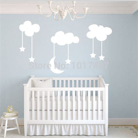 large nursery wall stickers moon baby nursery vinyl wall stickers large 220 140cm white sky blue moon clouds nursery