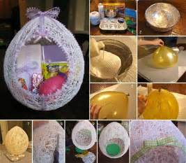 diy easter gifts diy egg shaped easter basket from string diy projects