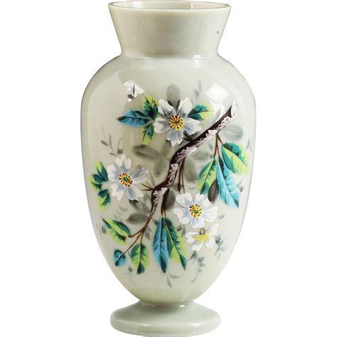 Victorian Glass Vase Antique Victorian Slate Opaline Glass Vase Hand Painted