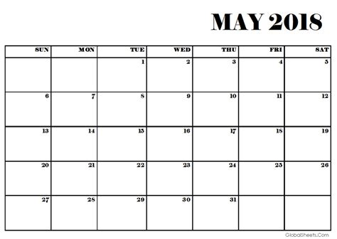 printable calendar for may 2018 may 2018 pdf calendar printable