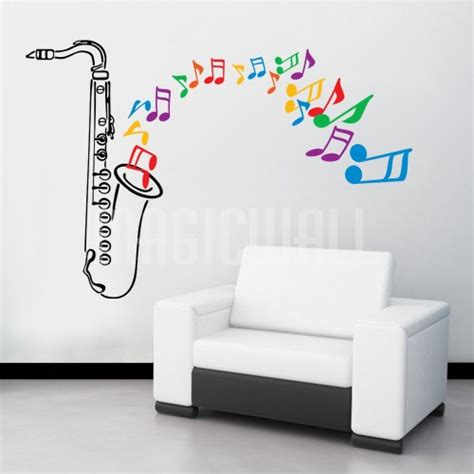 notes wall stickers saxophone with musical notes shooting out wall decals