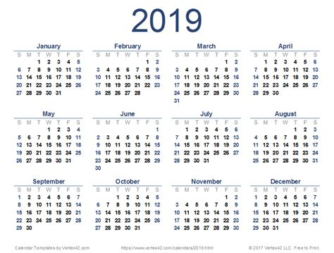 printable calendar for 2019 2019 calendar templates and images