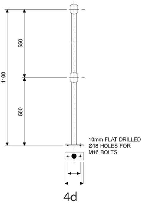 Tubular Handrail Standards galv handrail stds 4d 42 4od 550 550 to suit 42 4mm o dia f h brundle