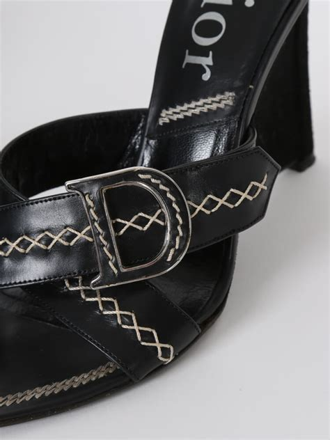 Sandal Wedges Ls08 Hitam 36 black leather stitched cross wedge sandals 36 luxury bags