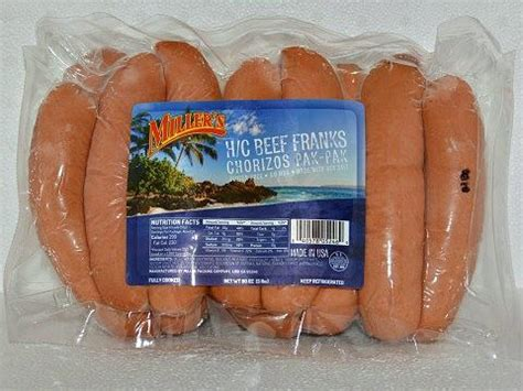 "miller's hot dogs chorizo's pak pak 6""4 1 h/c franks"