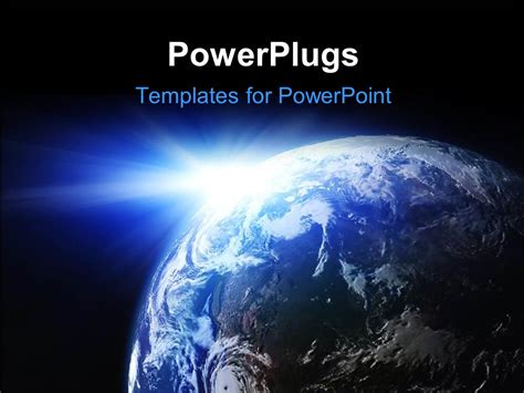 Powerpoint Template Space View Of The Sun Shining On The Planet Earth 10249 Microsoft Powerpoint Templates Space