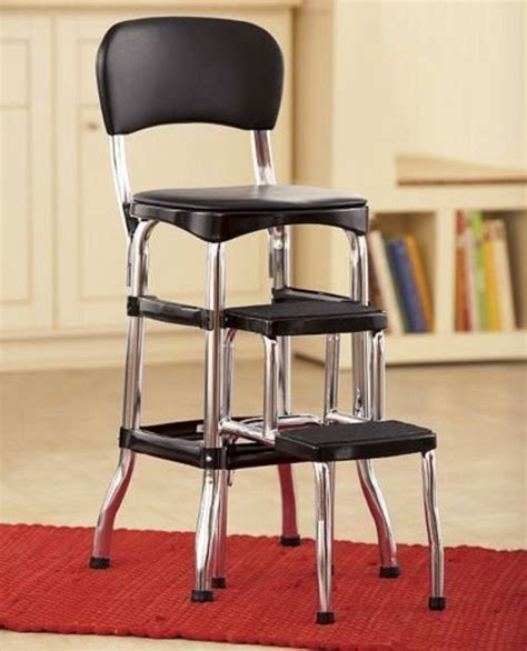 Cosco Black Retro Counter Chair Step Stool by New Cosco Retro Counter Chair Step Stool Chrome Finish
