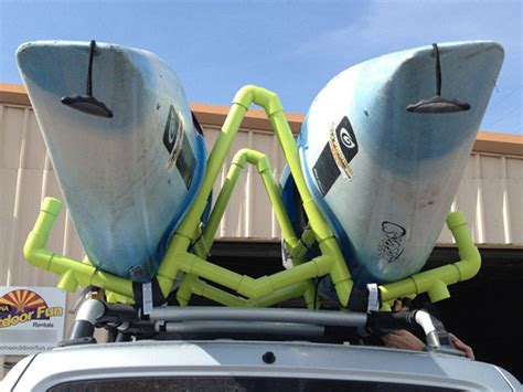 pvc kayak roof rackcarrier  steps  pictures