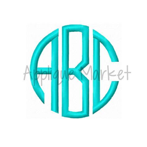 embroidery design monogram natural circle monogram satin font applique design