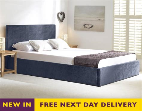 5ft king size bed discounted stirling blue fabric 5ft king size ottoman storage bed