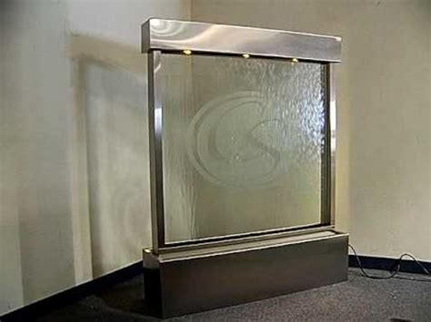 floor standing waterfall with logo, clear glass & led