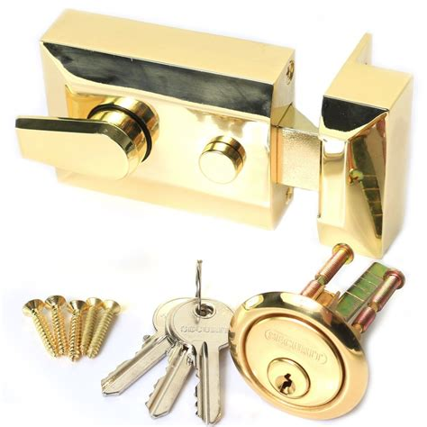 Front Door Deadbolt Locks High Security Brass Locking Nightlatch Front Door Lock Deadbolt Cylinder Ebay