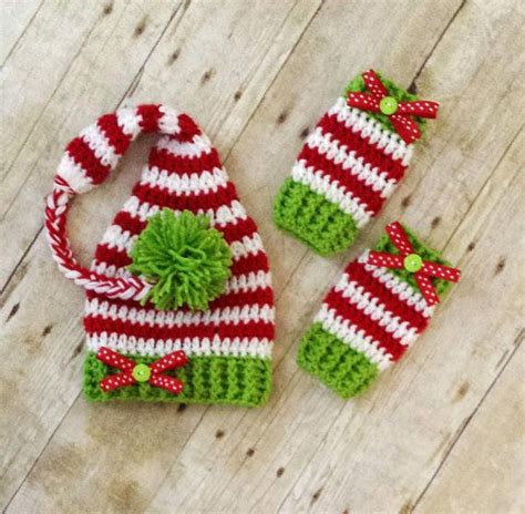 crochet pattern for baby christmas stocking crochet baby christmas striped elf stocking hat and